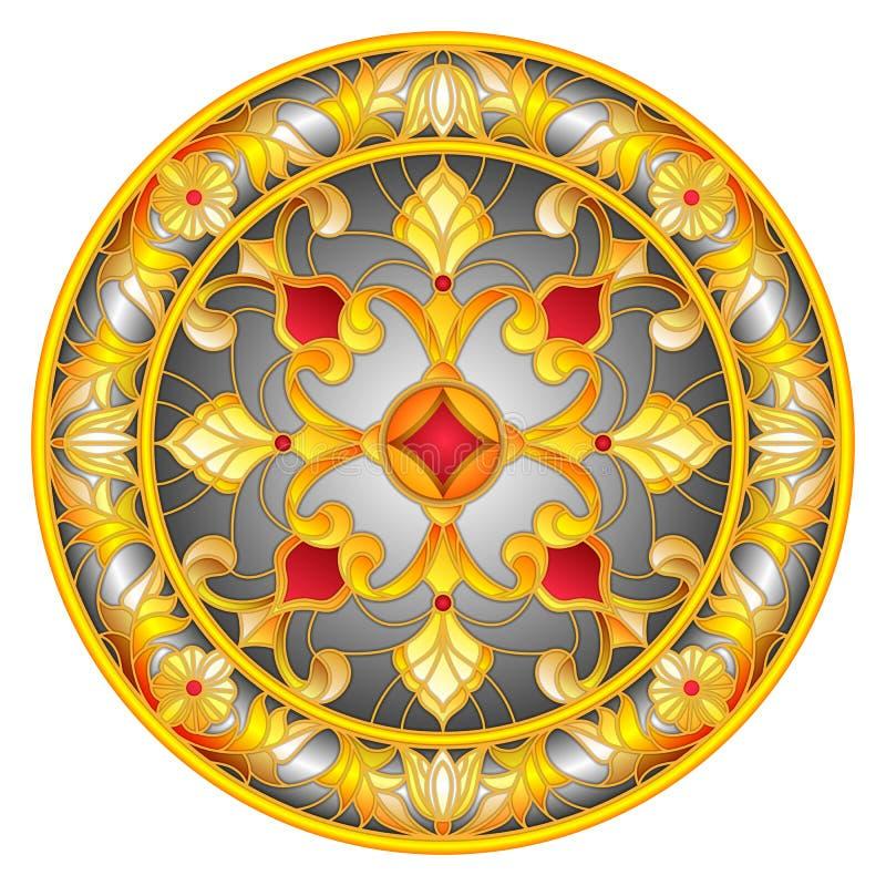 彩色玻璃例证、圆的镜象与花饰和漩涡 库存例证