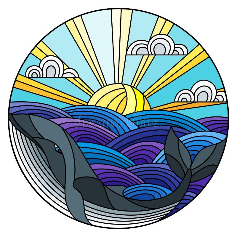 彩色玻璃例证鲸鱼到波浪、晴朗的天空和云彩,圆的图象里 皇族释放例证