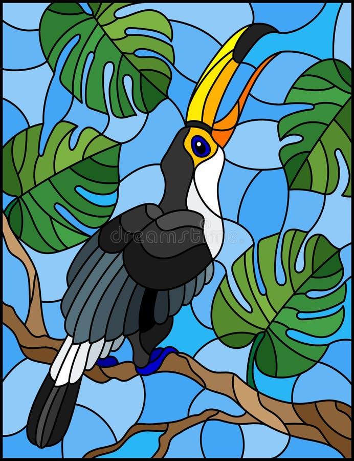 彩色玻璃在分支热带树的例证鸟Toucan反对天空 库存例证