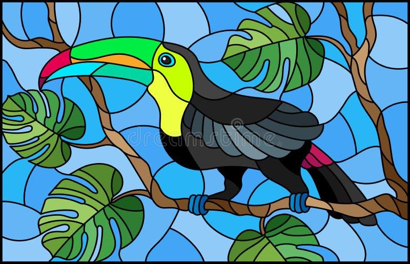 彩色玻璃在分支热带树的例证鸟Toucan反对天空 皇族释放例证
