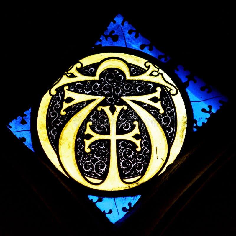 彩色玻璃在埃克塞特大教堂,圣安德鲁斯教堂窗口, Chr里 库存照片