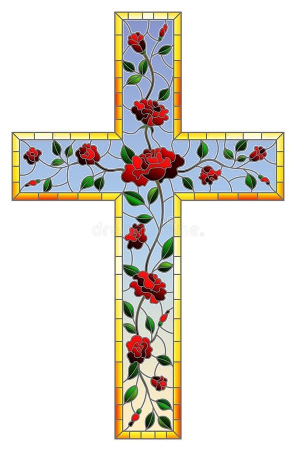 彩色玻璃在宗教题材的例证绘画,以用稀土装饰的基督徒十字架的形式污迹玻璃窗 皇族释放例证