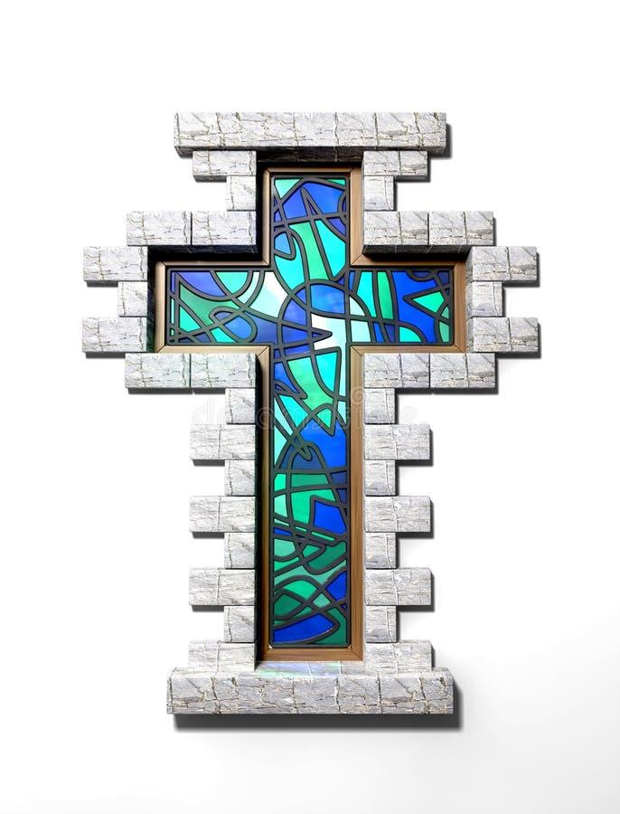 彩色玻璃查出的耶稣受难象视窗 向量例证