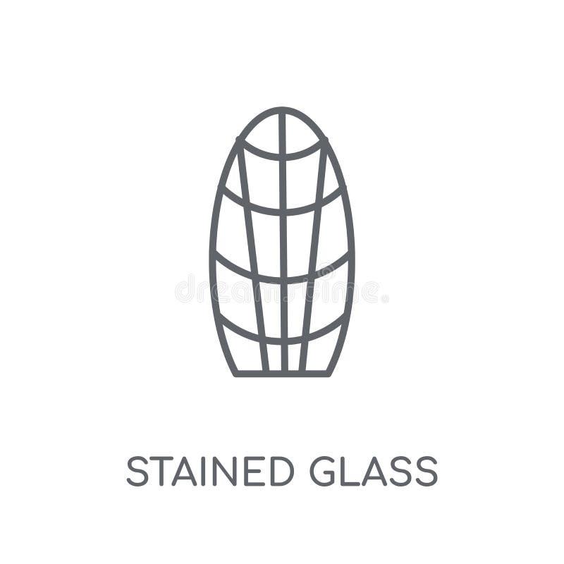 彩色玻璃线性象 现代概述彩色玻璃商标骗局 库存例证