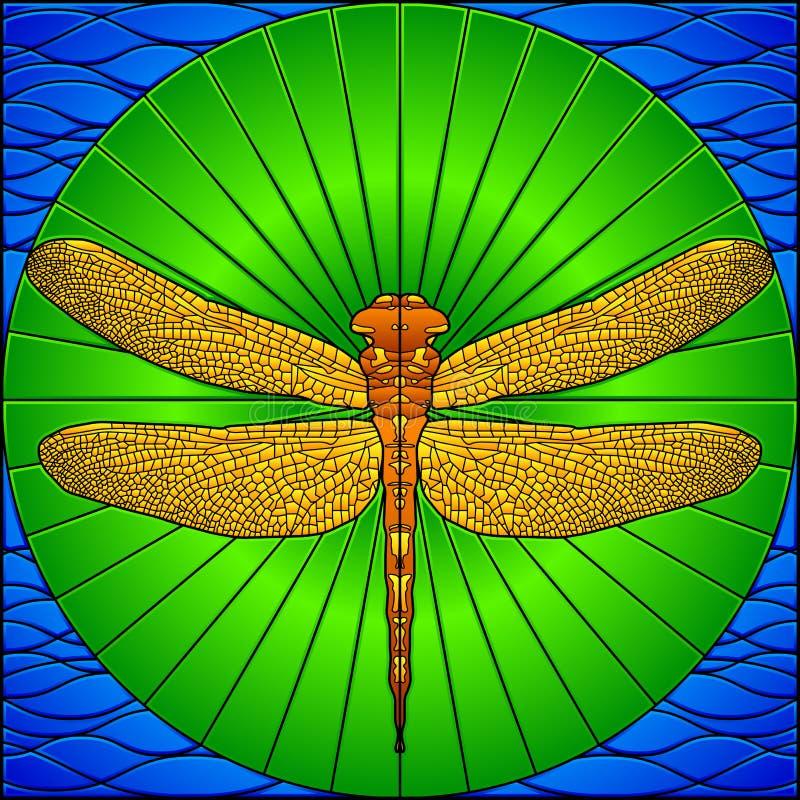 彩色玻璃蜻蜓 库存例证