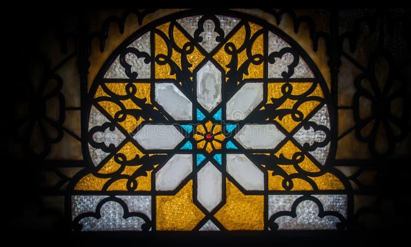 彩色玻璃,帕拉西奥瓦尔,西恩富戈斯,古巴 图库摄影