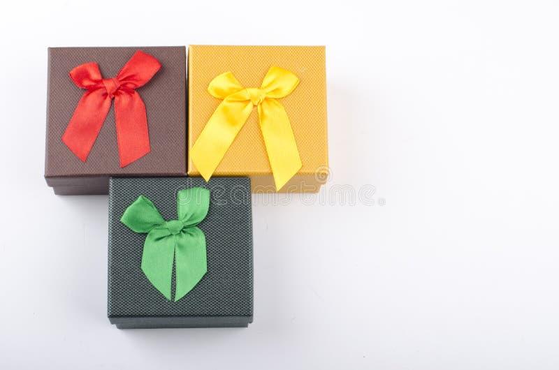 彩色礼盒白色背景 库存图片