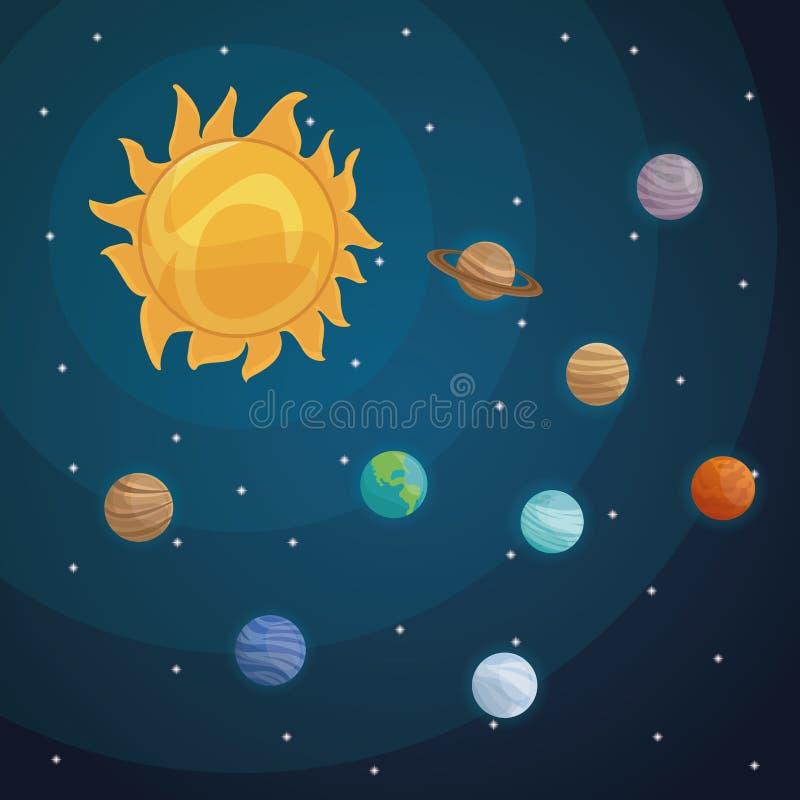 彩色空间与银河星系ans行星的风景背景在太阳系 向量例证