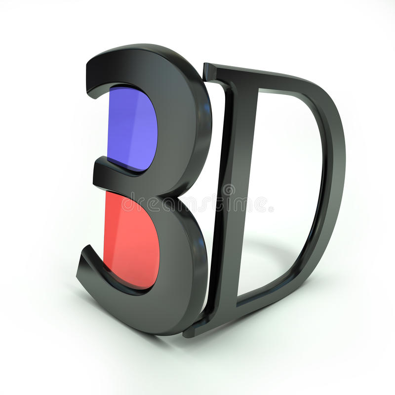 彩色立体图3D玻璃 图库摄影