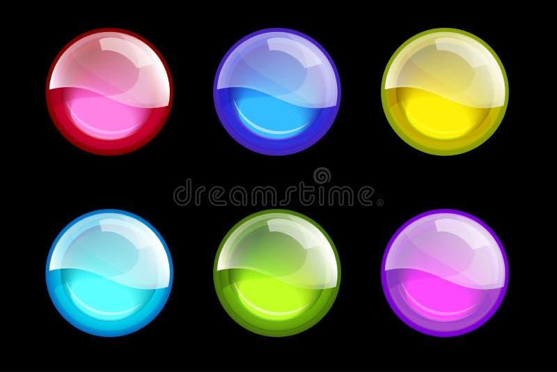 彩色组范围 被设置的光滑的万维网按钮 光滑的范围 库存例证