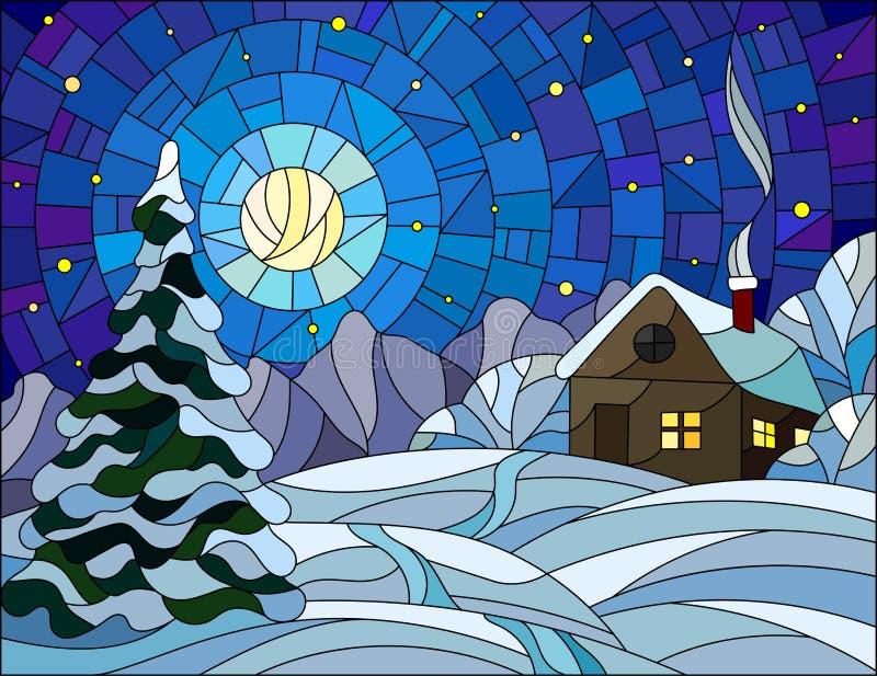 彩色玻璃例证冬天风景、村庄房子和冷杉木在雪背景,满天星斗的天空和月亮 向量例证