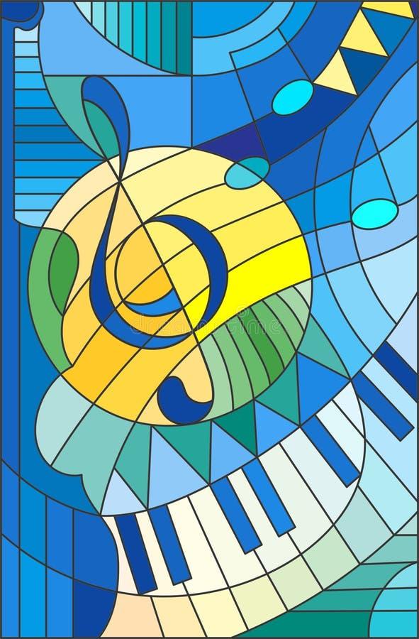 彩色玻璃例证高音谱号的摘要图象 向量例证