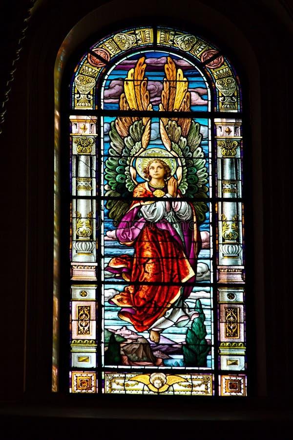 彩色玻璃天使 免版税库存图片