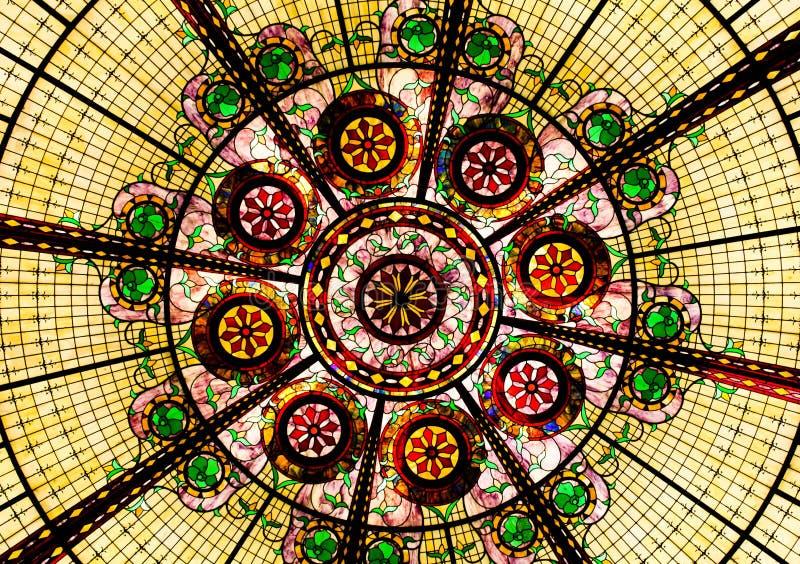 彩色玻璃天花板 库存照片