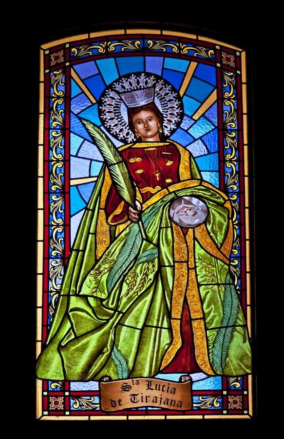 彩色玻璃的圣诞老人露西娅 免版税图库摄影