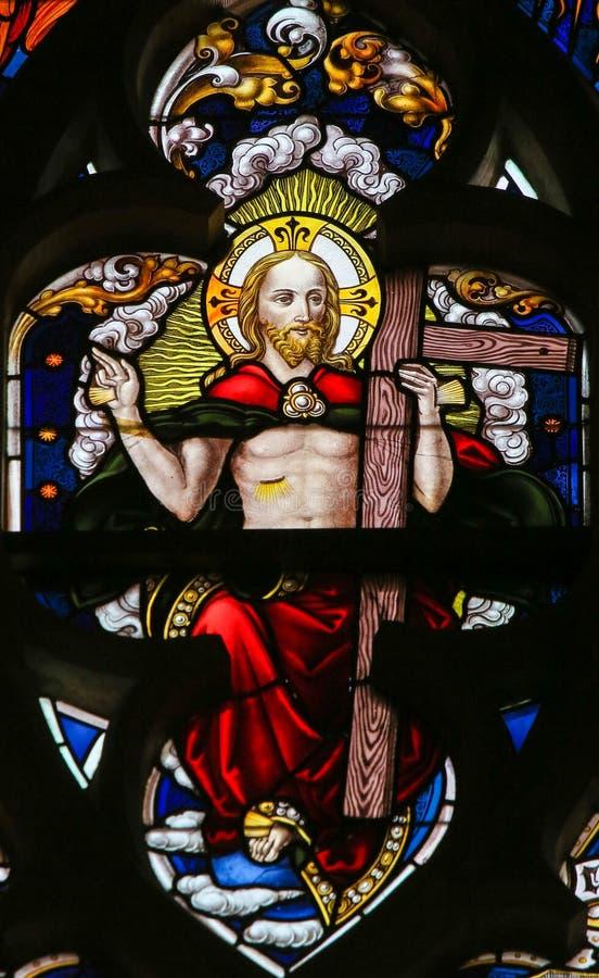 彩色玻璃-耶稣基督 免版税库存照片