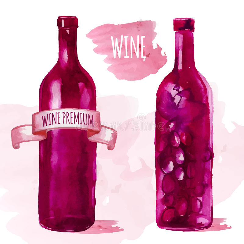 水彩艺术性的酒瓶 皇族释放例证
