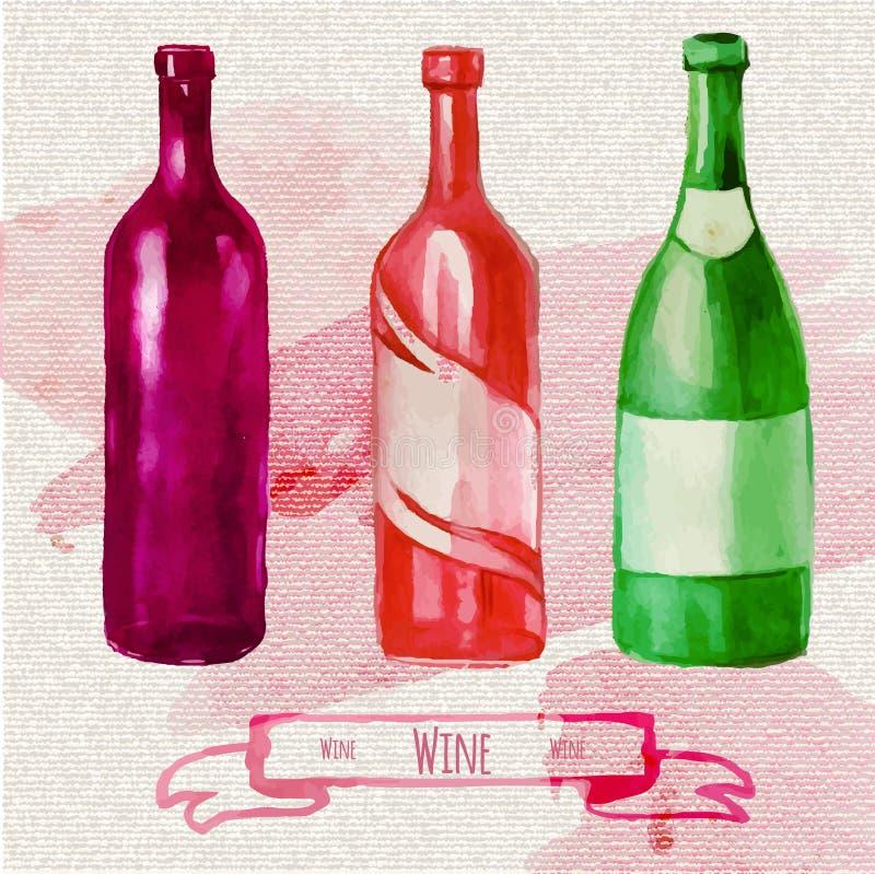 水彩艺术性的酒瓶 向量例证