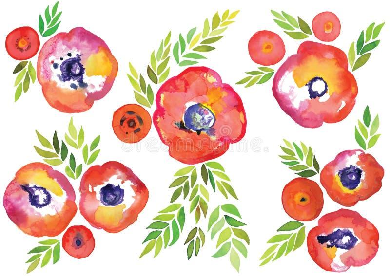 水彩花卉传染媒介、春天和夏天水彩导航纹理,手拉的装饰集合,水彩样式 向量例证