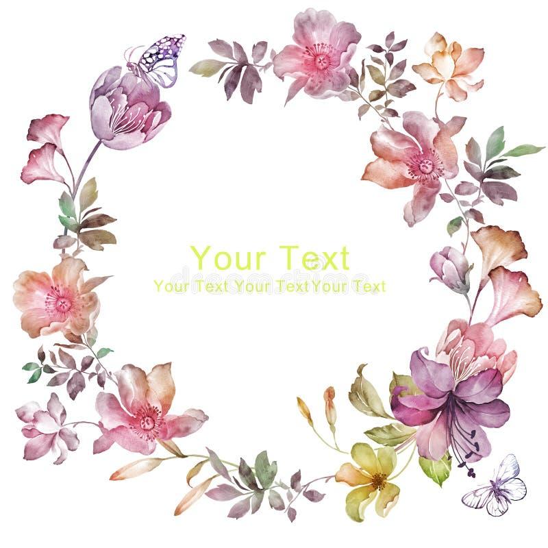 水彩花卉例证收藏 花安排了联合国完善的花圈的形状 库存例证