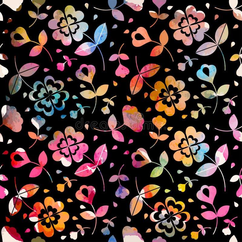 水彩花卉无缝的样式 向量例证