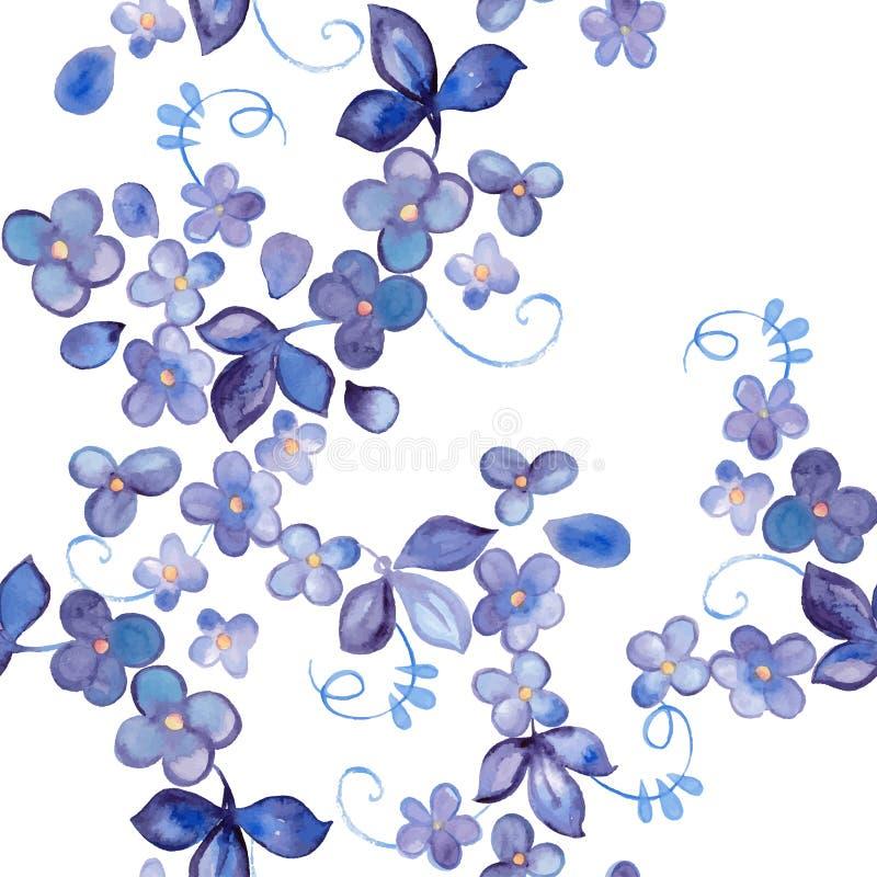 水彩花卉无缝的样式 库存例证