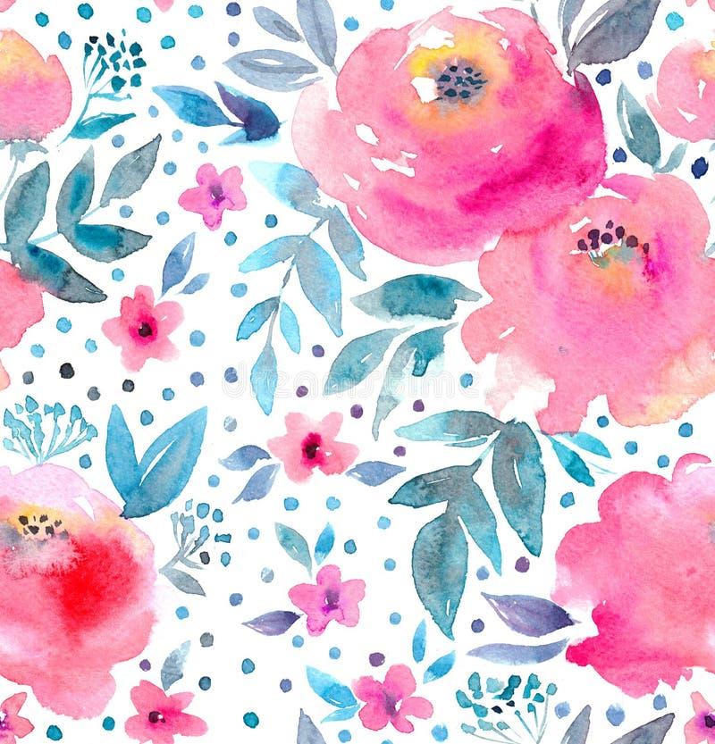 水彩花卉样式和无缝的背景 手画 轻拍设计 皇族释放例证