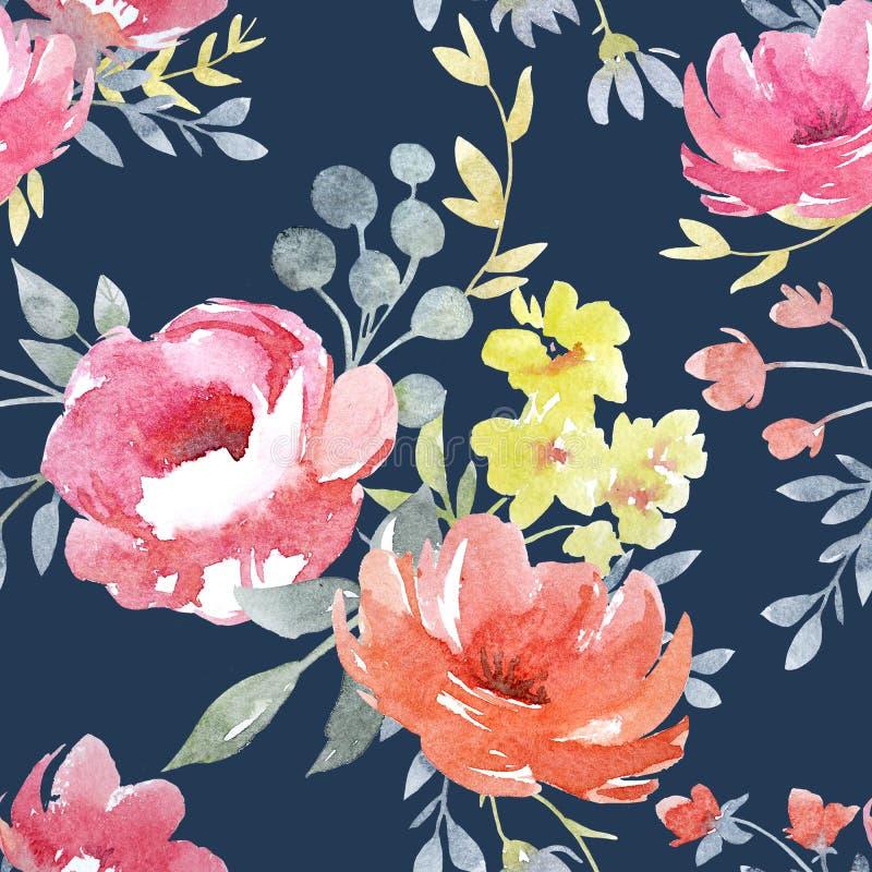 水彩花卉样式 向量例证