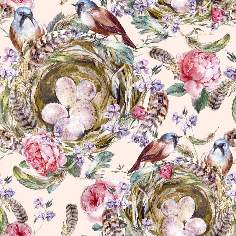 水彩花卉葡萄酒无缝的样式与 库存例证