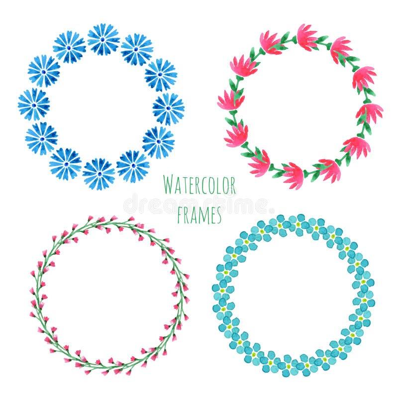 水彩花圈集合 与花的花卉圆的框架收藏 手画婚礼或贺卡、生日,书或者placar 皇族释放例证