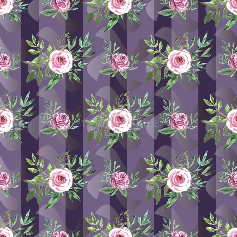 水彩花纹花样 向量例证