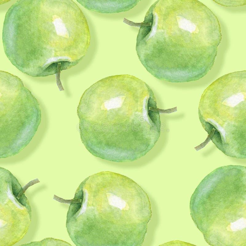 水彩苹果,无缝的样式2 向量例证