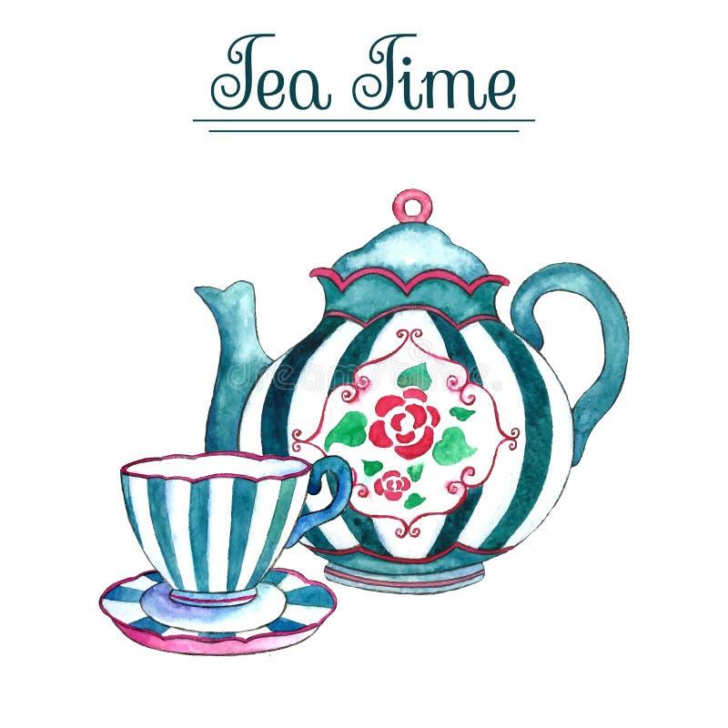 水彩茶壶和杯子 库存例证