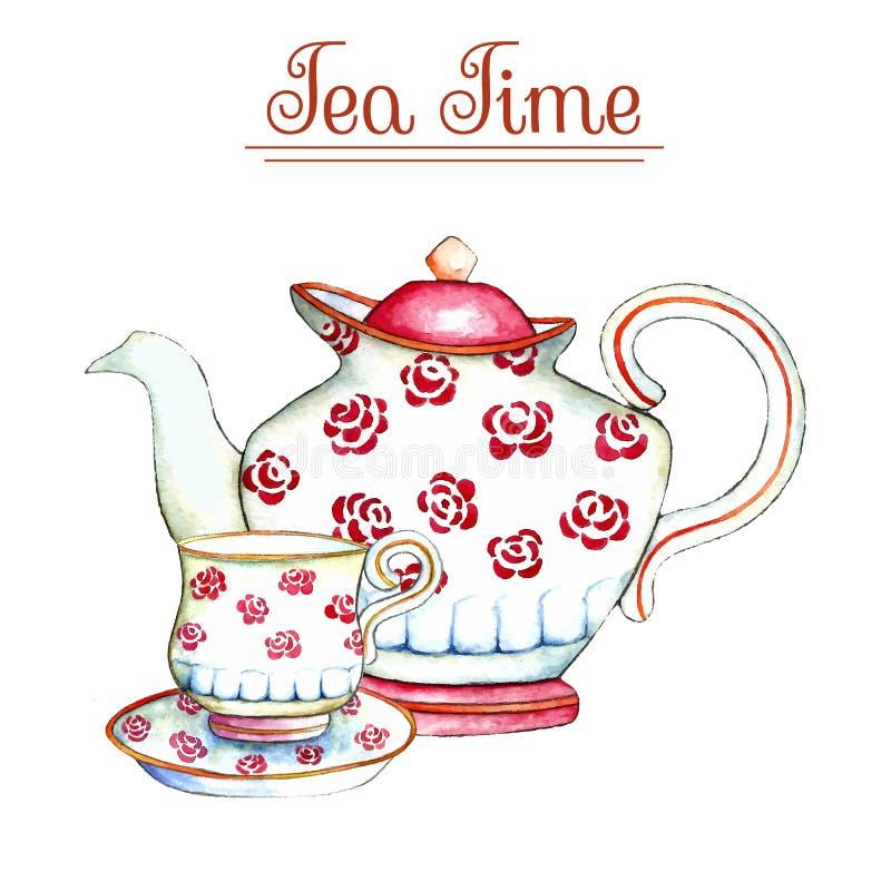 水彩茶壶和杯子 皇族释放例证