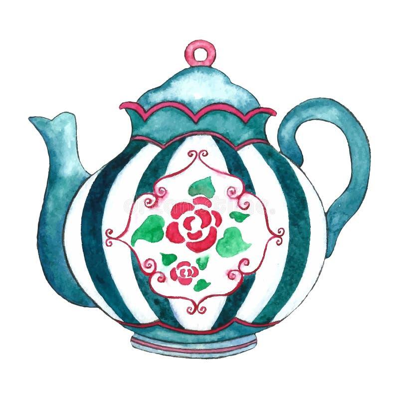 水彩茶壶 库存例证
