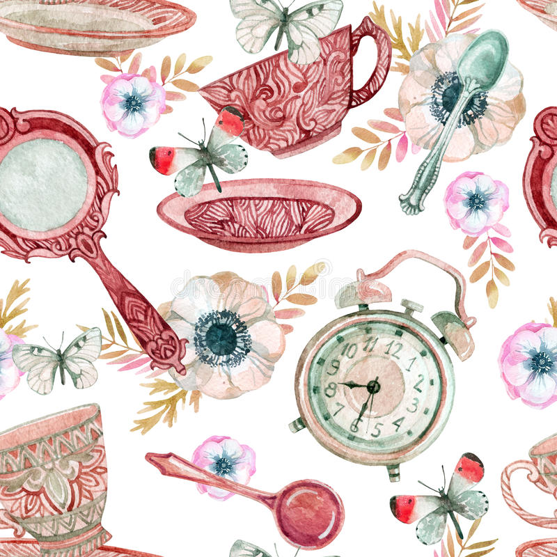 水彩茶无缝的样式 向量例证