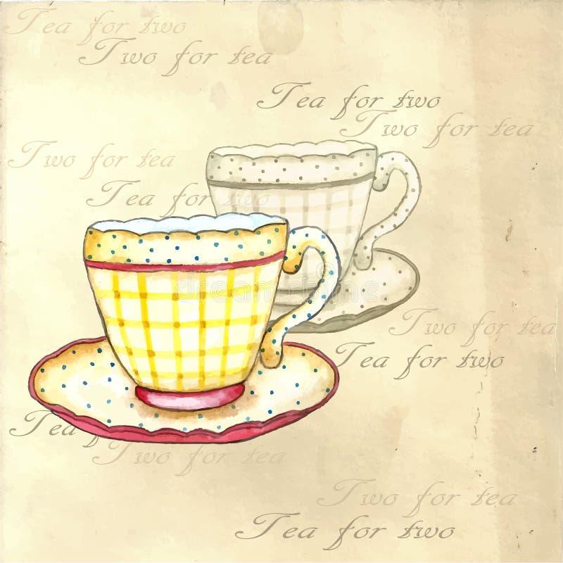 水彩茶杯 库存例证