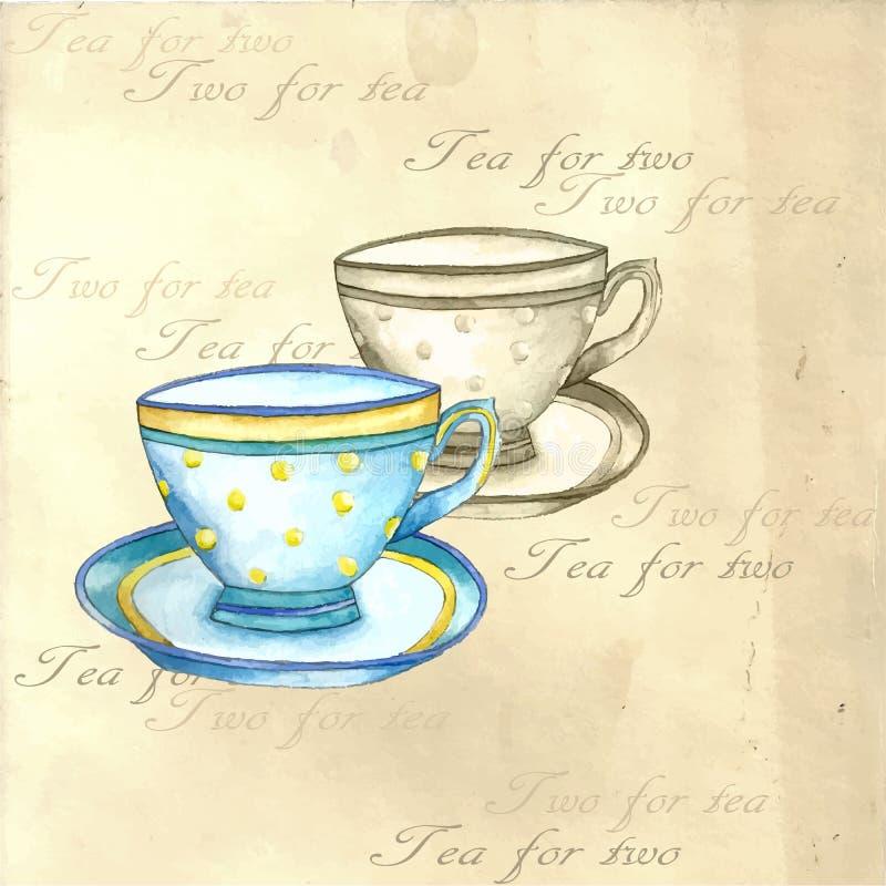 水彩茶杯 皇族释放例证