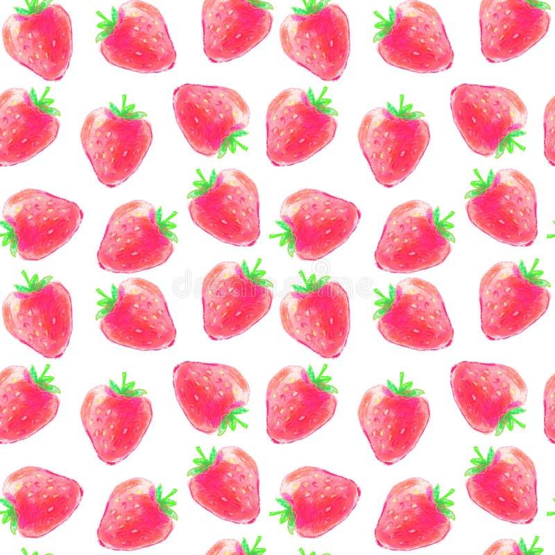 水彩草莓的无缝的样式 库存图片