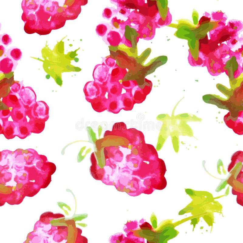 水彩莓的无缝的样式 库存例证