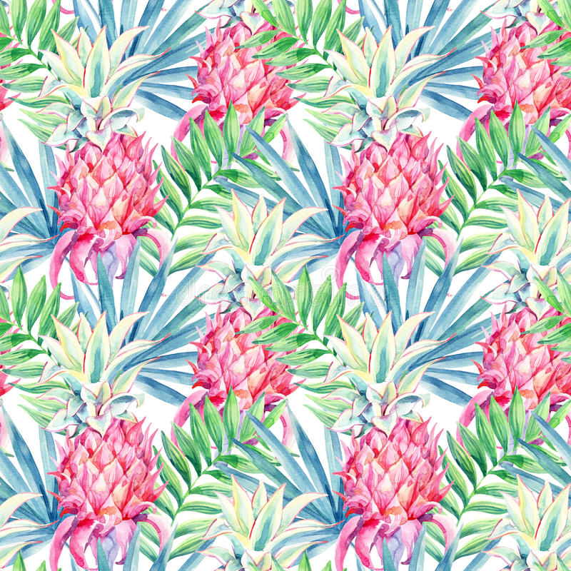 水彩菠萝果子无缝的样式 向量例证