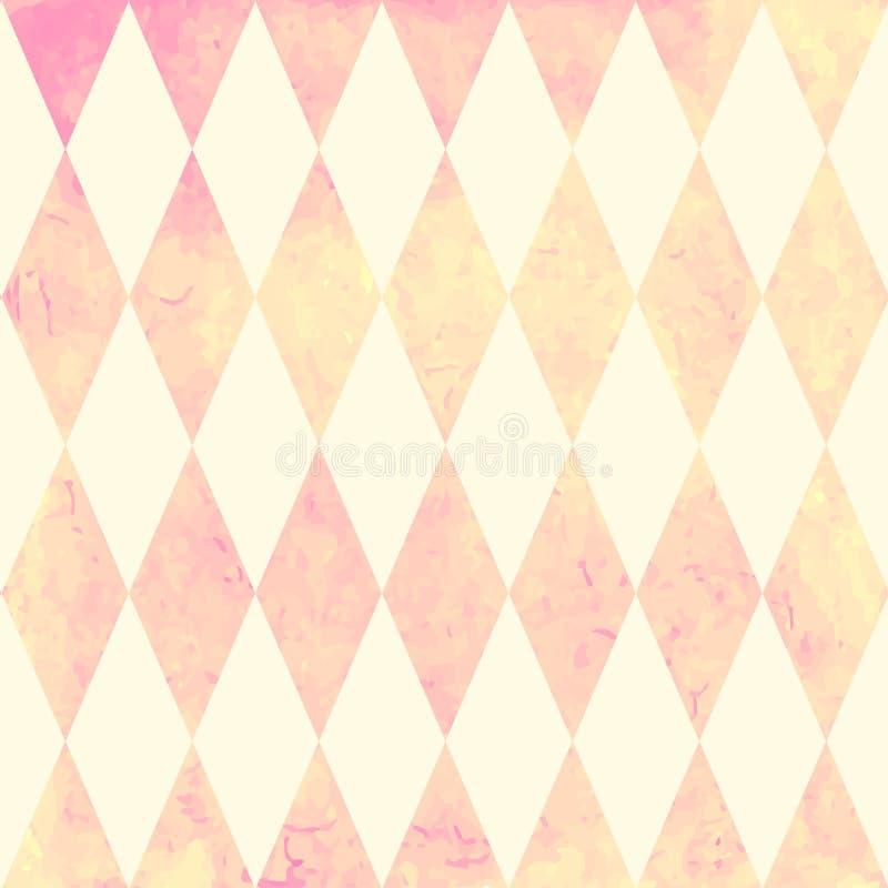 水彩菱形无缝的样式 几何传染媒介背景 向量例证