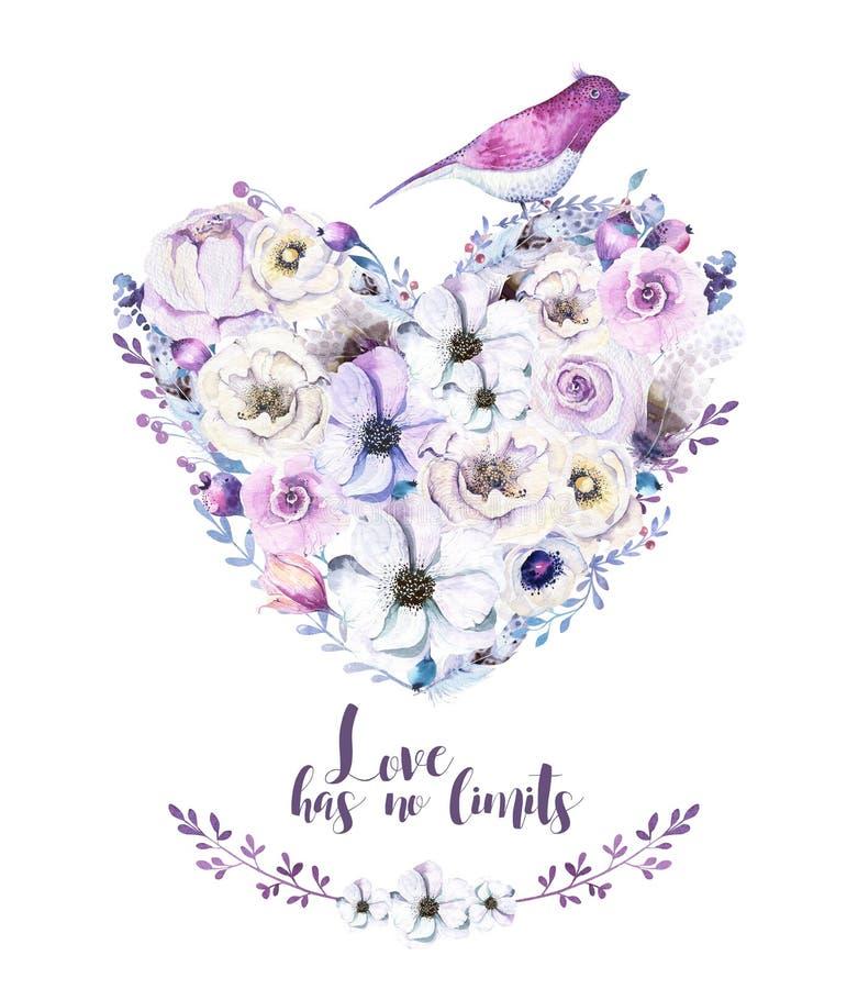 水彩葡萄酒玫瑰花卉piony心脏花束 Boho春天 库存图片