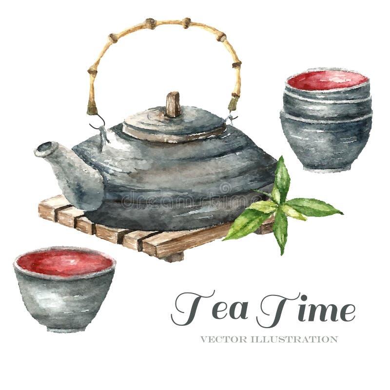 水彩葡萄酒茶壶,两杯茶 库存例证