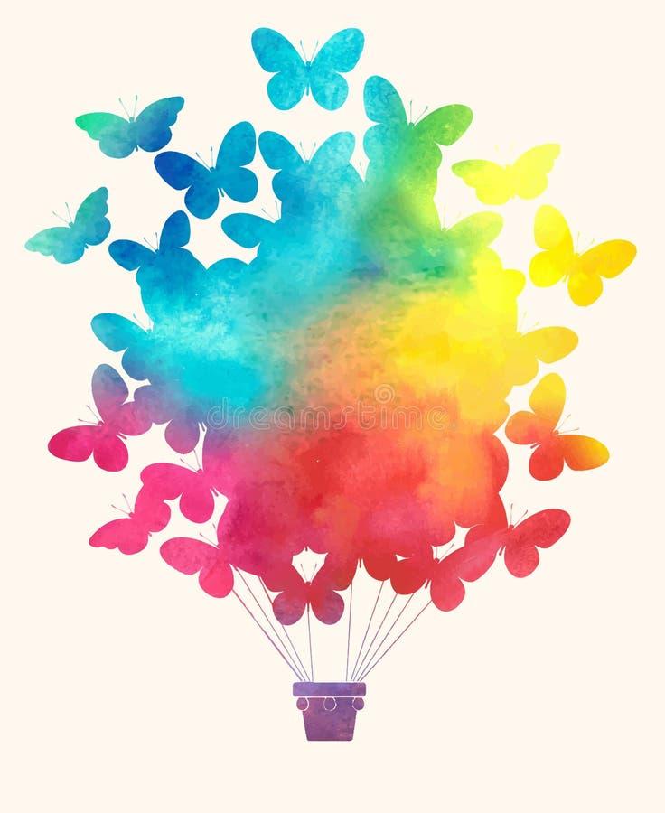 水彩葡萄酒蝴蝶热空气气球 与气球的庆祝欢乐背景 向量例证