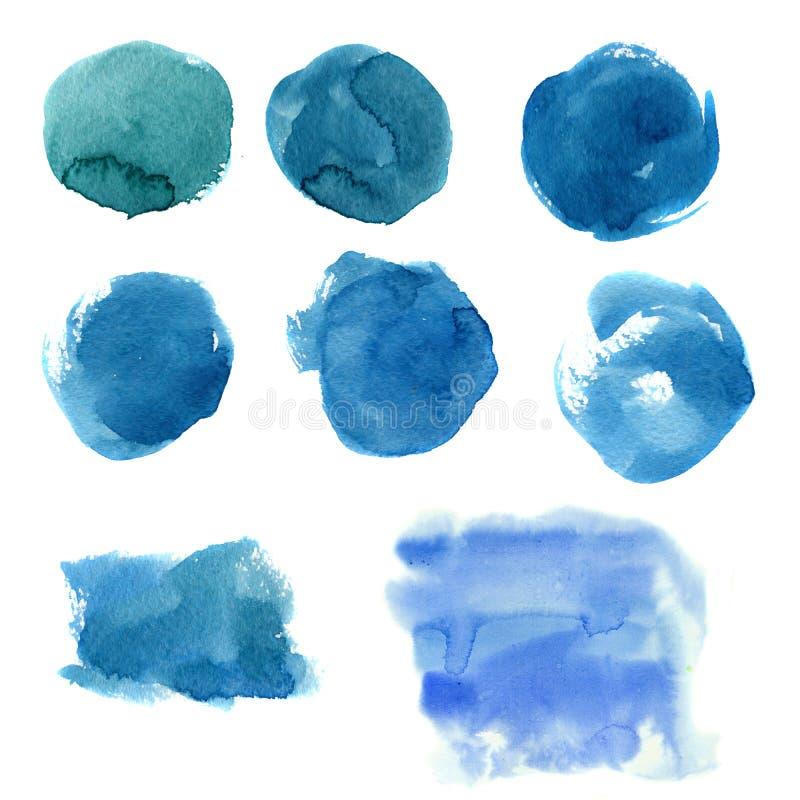 水彩蓝色斑点 在白色背景隔绝的手画抽象横幅 设计的例证,印刷品或 皇族释放例证