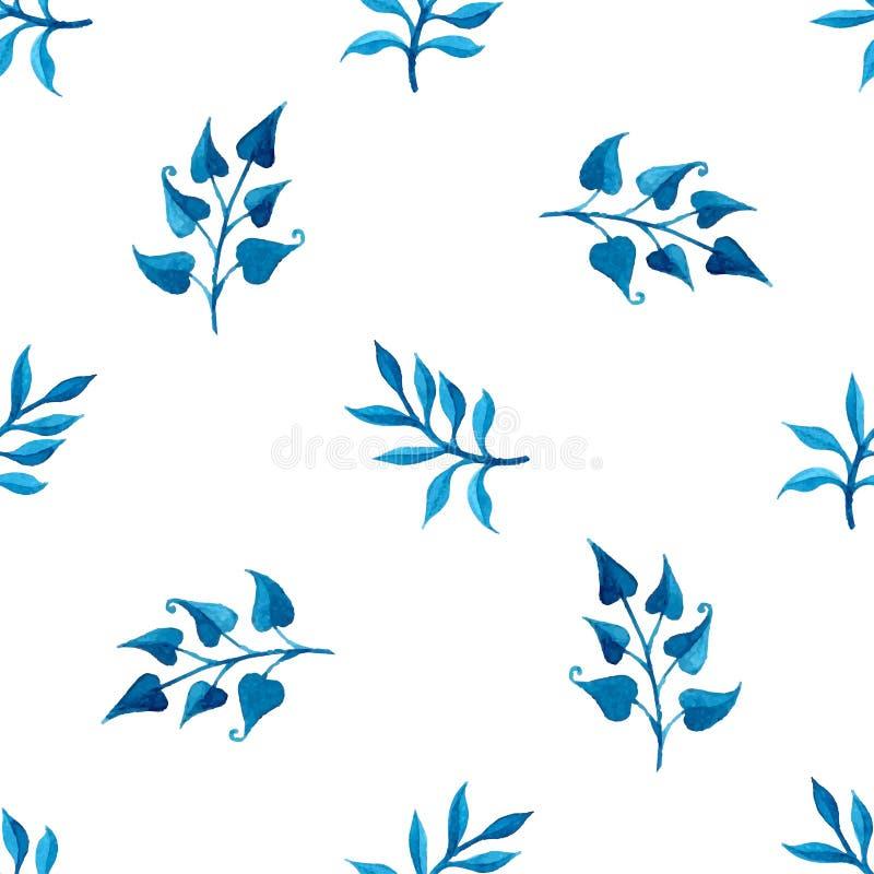 水彩蓝色无缝的样式 向量例证