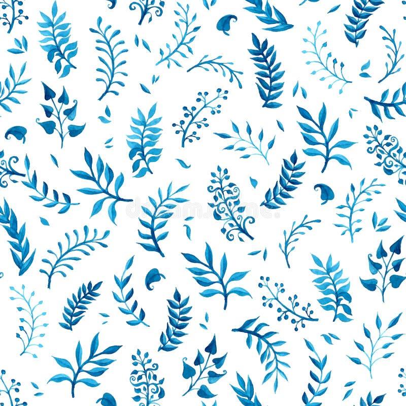水彩蓝色无缝的样式 皇族释放例证