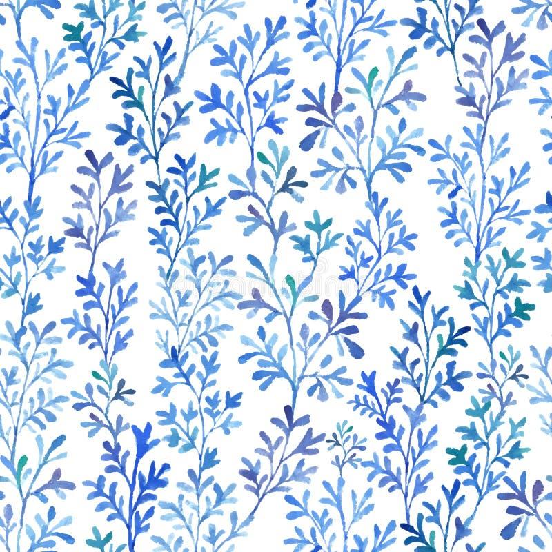 水彩蓝色植物群 库存照片