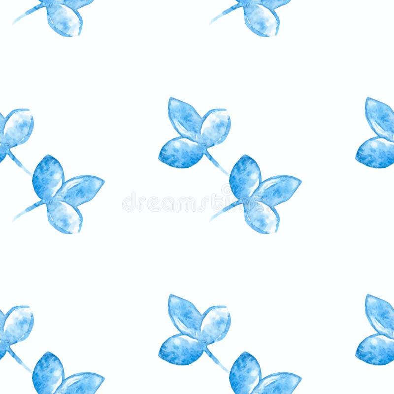水彩蓝色花剪影特写镜头 皇族释放例证